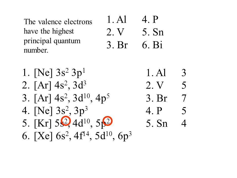1. Al 4. P 2. V 5. Sn 3. Br 6. Bi [Ne] 3s2 3p1 [Ar] 4s2, 3d3